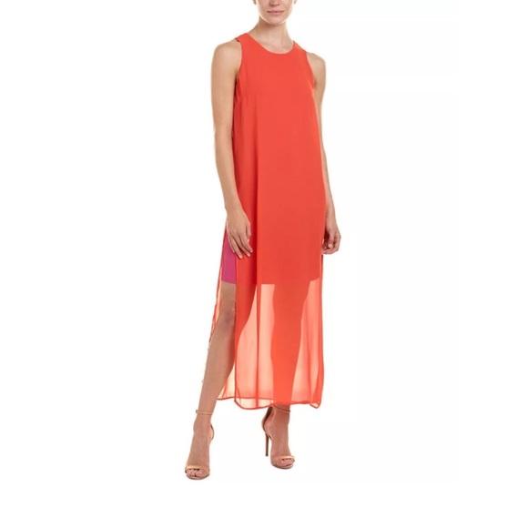 7002d73cecc Vince Camuto Maxi High Neck Sheer Chiffon Dress